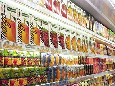 Beverage cartons on shelf